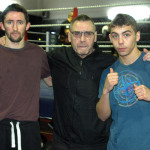 Johnny Eames flanked by new signings Michael O'Rourke (L) and Danny Arnold (R) at the Champions TKO Boxing Gym in London